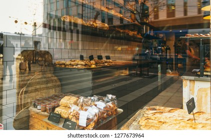Showcase Bakery with assortment of bread, cakes and buns in Stockholm, Sweden