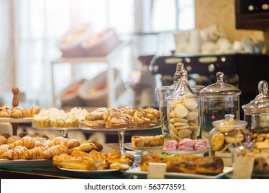 Showcase with delicious sweets