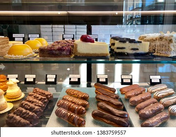 Showcase with delicious sweets. Showcase in the cafe and in the bakery.Real photo.
