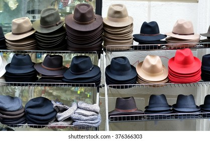Showcase of Hat store in Paris, France. Sell of fedora hats