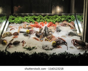 Showcase of restaurant with fresh seafood