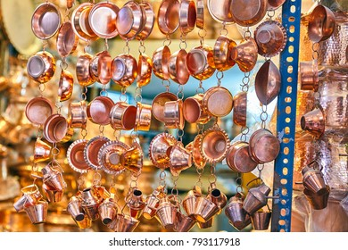 Showcase in a store of copper utensils at the market in Yazd, Iran.