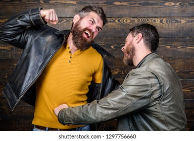 Showdown concept. Conflict and confrontation. Man argue while guy feel sorry. Fail and misunderstanding. Feel guilty. Failure and disappointment. Men failed deal argue. Disappointed partner argue.