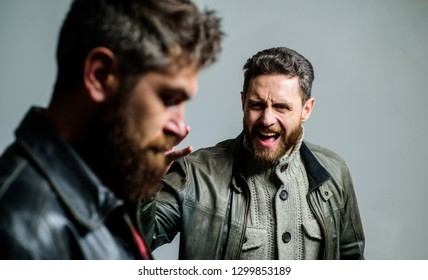 Showdown concept. Conflict and confrontation. Man argue while guy feel sorry. Feel guilty. Fail and misunderstanding. Men failed deal argue. Failure and disappointment. Disappointed partner argue.