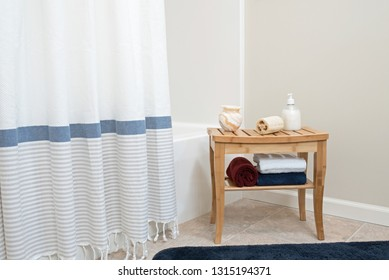 Shower Area with Bamboo Bench