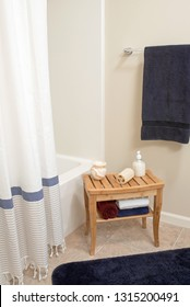 Shower Area with Bamboo Bench, vertical