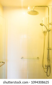 Shower in bathroom  with warm light