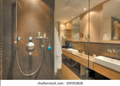 shower in a beautiful bathroom in Kaufmann hotel, Bavaria
