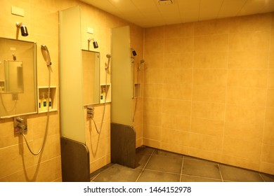 Shower booths in the gym