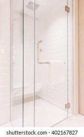 Shower box for bath decoration in bathroom interior - Vintage Light Filter