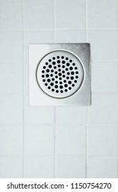 shower floor drain in a bathroom