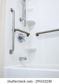 Shower with handicapped disabled access grab bars and removable shower head