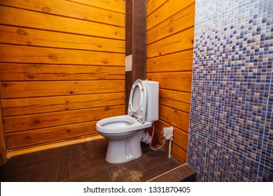 shower room in a wooden house