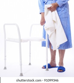 Shower seat and elderly woman