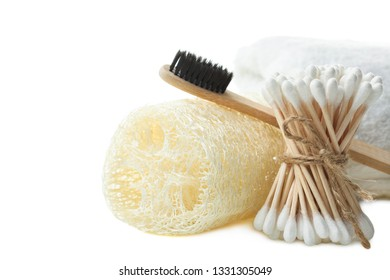 Shower Set: terry towel, sponge luffa, bamboo sticks ear and toothbrush  isolated on white. Concept zero waste.
