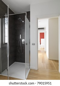 shower stall with door glass
