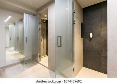 Showers in gym fitness center