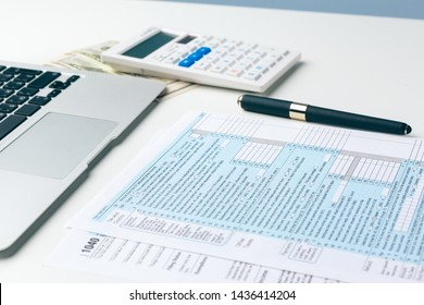 Showing business and financial report. Accounting, money close up