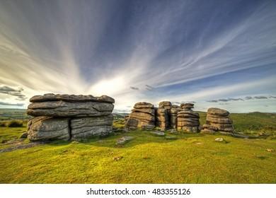 Showing Combestone tor on Dartmoor by Hexworthy and Yelverton