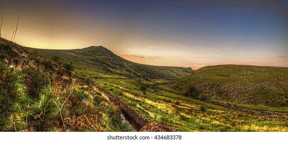 Showing the entrance to Tavy Cleave valley a very remote location on dartmoor in South Devon, not far from Peter Tavy and Tavistock, With Sharptor shown on the righthand side in the distance