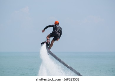 Showing flyboard on Ao Makham during Children's day in Phuket, Thailand