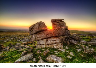 Showing the iconic Great staple tor by merrivale on Dartmoor