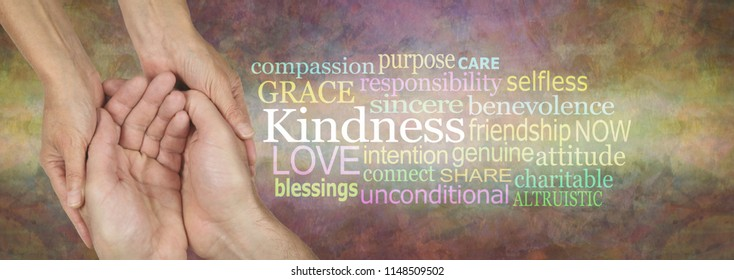Showing Kindness Word Tag Cloud Banner - female hands gently cradling male cupped hands beside a KINDNESS word cloud against a wide rustic artistic multicoloured background