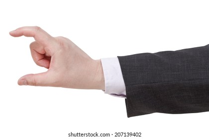 showing of medium size - hand gesture isolated on white background