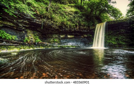 Showing Sgwd Henrhyd on the Four falls walk on the Brecon beacons national park