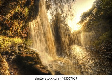 Showing Sgwd yr Eira waterfall on the Four falls walk on the Brecon beacons national park