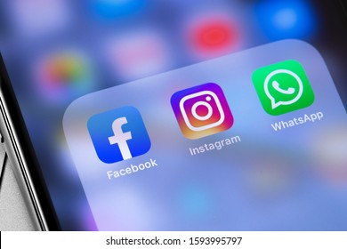showing social media icons apps, Facebook, Instagram, WhatsApp on the screen iPhone. Moscow, Russia - September 25, 2019
