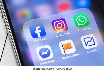 showing social media icons apps, Facebook, Instagram, WhatsApp on the screen iPhone. Social media. Moscow, Russia - September 25, 2019