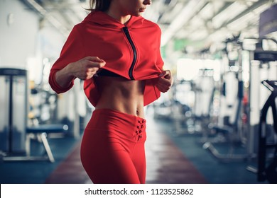 Showing some strong abs and flat belly