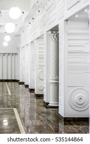 A showroom of classical moldings and stucco products.