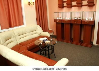 Showroom of dear and modern jeweller shop