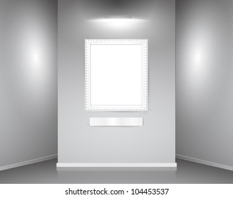 showroom with empty wall with realistic frame