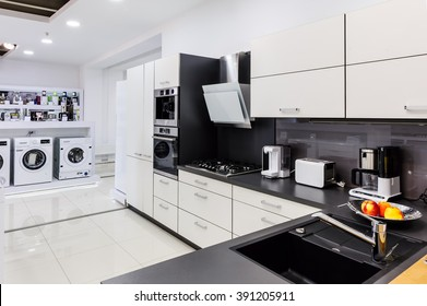 Showroom at retail appliances store