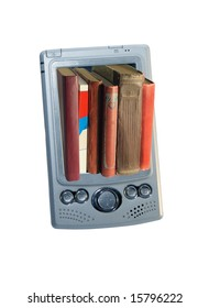 Shows as many different books are located in a small pocket computer.