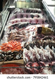 show-window with seafood