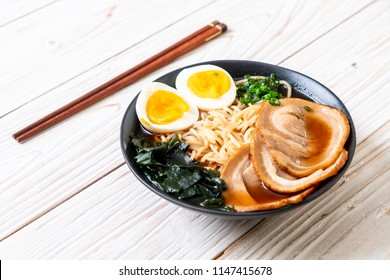 Shoyu ramen noodle with pork and egg - Japanese food style