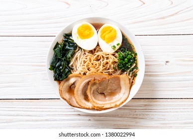Shoyu ramen noodle with pork and egg - Japanese food style