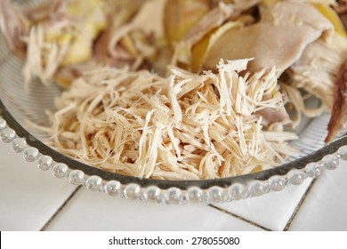 Shredded chicken for the ingredient for Soto, the traditional Indonesian chicken soup