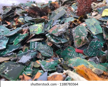 Shredded circuit boards ready for smelting at a UK recycling facility
