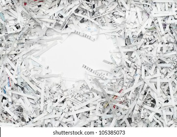 Shredded white paper for recycling with blank copy space