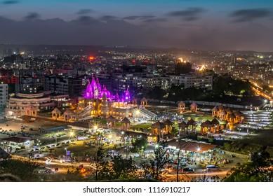 Shree Swaminarayan Mandir at night, Ambe Gaon,  Pune .