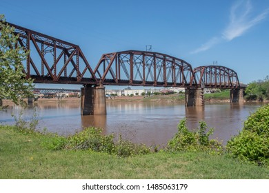 SHREVEPORT, LA., U.S.A. - April 9, 2019: This bridge linking Shreveport to Bossier City was originally built by Illinois Central Railroad, but is now part of the Kansas City Southern system.