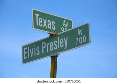 SHREVEPORT, LA., U.S.A. â?? DEC. 18, 2016: The intersection near where Elvis Presley made his national debut in October 1954, on the radio show, Louisiana Hayride.