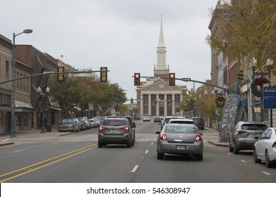 SHREVEPORT, LOUISIANA, U.S.A.,   DEC. 17, 2016: Downtown Shreveport, La., looking eastward toward the landmark First Methodist Church, during the Christmas season.