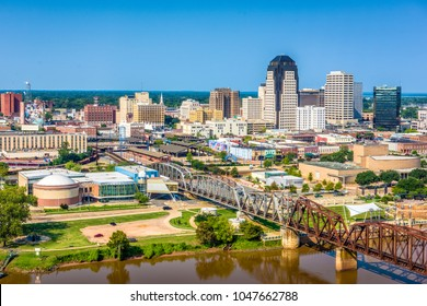 Shreveport, Louisiana, USA downtown skyline over the river.