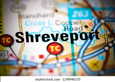 Shreveport. Louisiana. USA on a map
